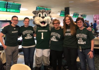 Pin Crushing group photo with Binghamton University Mascot